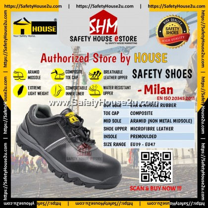 HOUSE SAFETY SHOES - MILAN C/W COMPOSITE TOE CAP & ARAMID MID SOLE