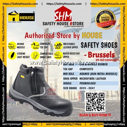 HOUSE SAFETY SHOES - BRUSSELS C/W COMPOSITE TOE CAP & ARAMID MID SOLE