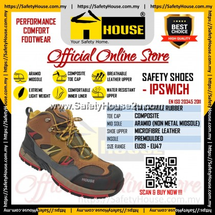 HOUSE IPSWICH SAFETY SHOES C/W COMPOSITE TOE CAP & ARAMID MID SOLE