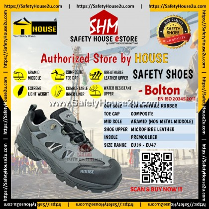 HOUSE SAFETY SHOES - BOLTON C/W COMPOSITE TOE CAP & ARAMID MID SOLE