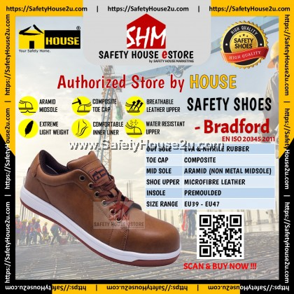 HOUSE SAFETY SHOES - BRADFORD C/W COMPOSITE TOE CAP & ARAMID MID SOLE