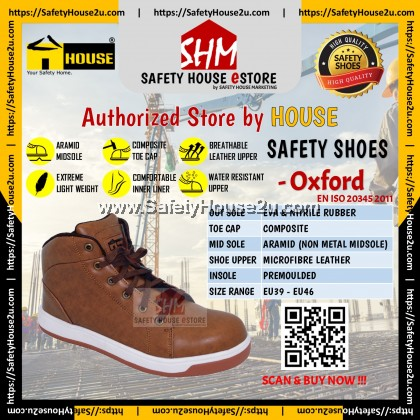 HOUSE SAFETY SHOES - OXFORD C/W COMPOSITE TOE CAP & ARAMID MID SOLE